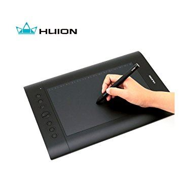 A hand holding a pen and drawing on the tablet shaped device.