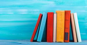 books on blue background