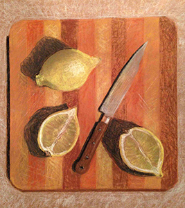 Pastel painting of lemons