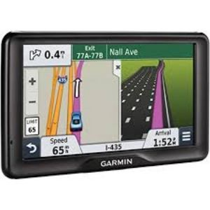 A GPS showing a car on a highway map.