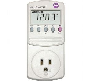 A plug in device with buttons and an energy reading.